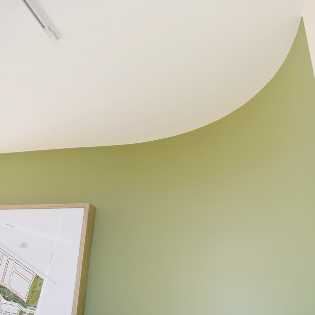 Curved wall in green