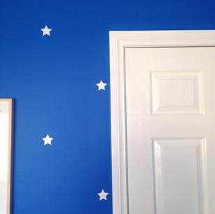 Blue kids feature wall