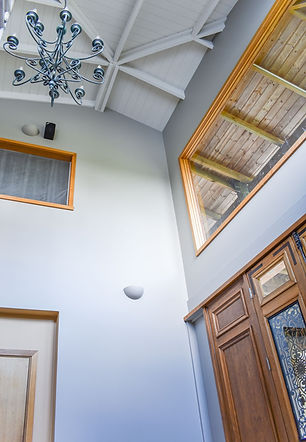 Double storey entryway with repainted ceilings and walls
