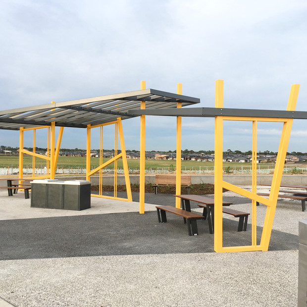BBQ shelter in yellow