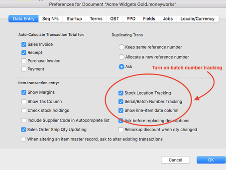 An accounting software with batch and expiry date tracking