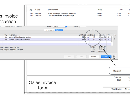How to insert the discounted amount into an invoice template of the MoneyWorks accounting software?