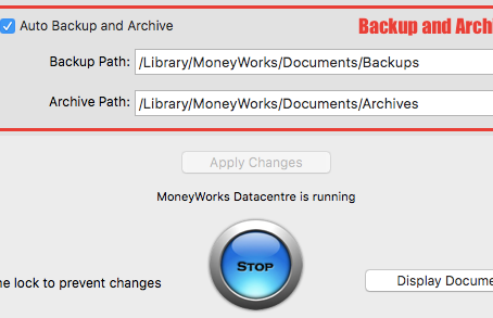 How does the auto backup work in MoneyWorks accounting software?