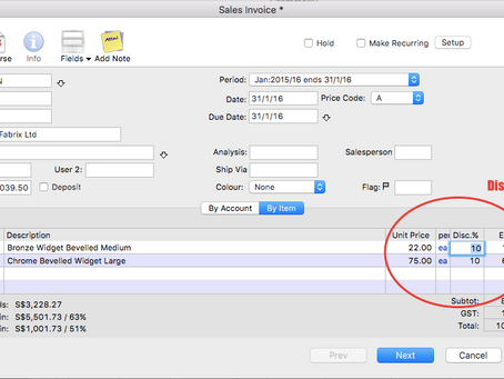 How to record a trade discount on MoneyWorks accounting software?