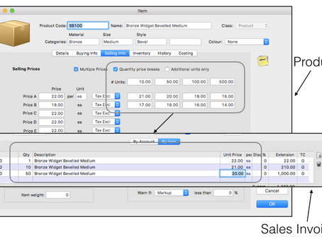 Set up the quantity price break for the product items in MoneyWorks accounting software