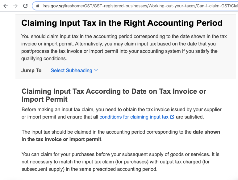 Claiming input Tax in the Right Accounting Period