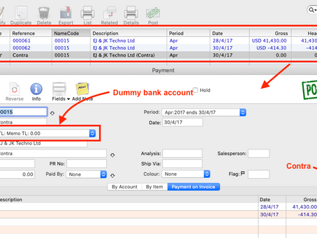 How to use the contra feature in MoneyWorks accounting system?