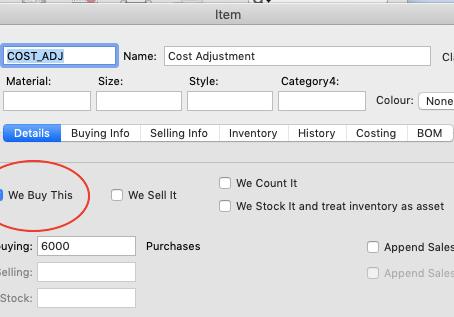 Inventory cost adjustment