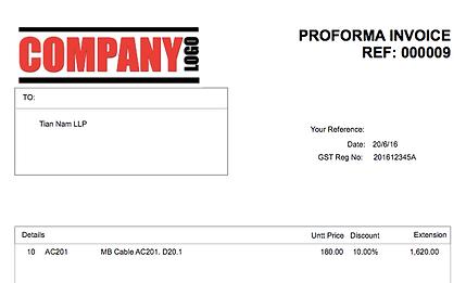 Pro Forma Invoice Proforma Invoice MoneyWorks Singapore