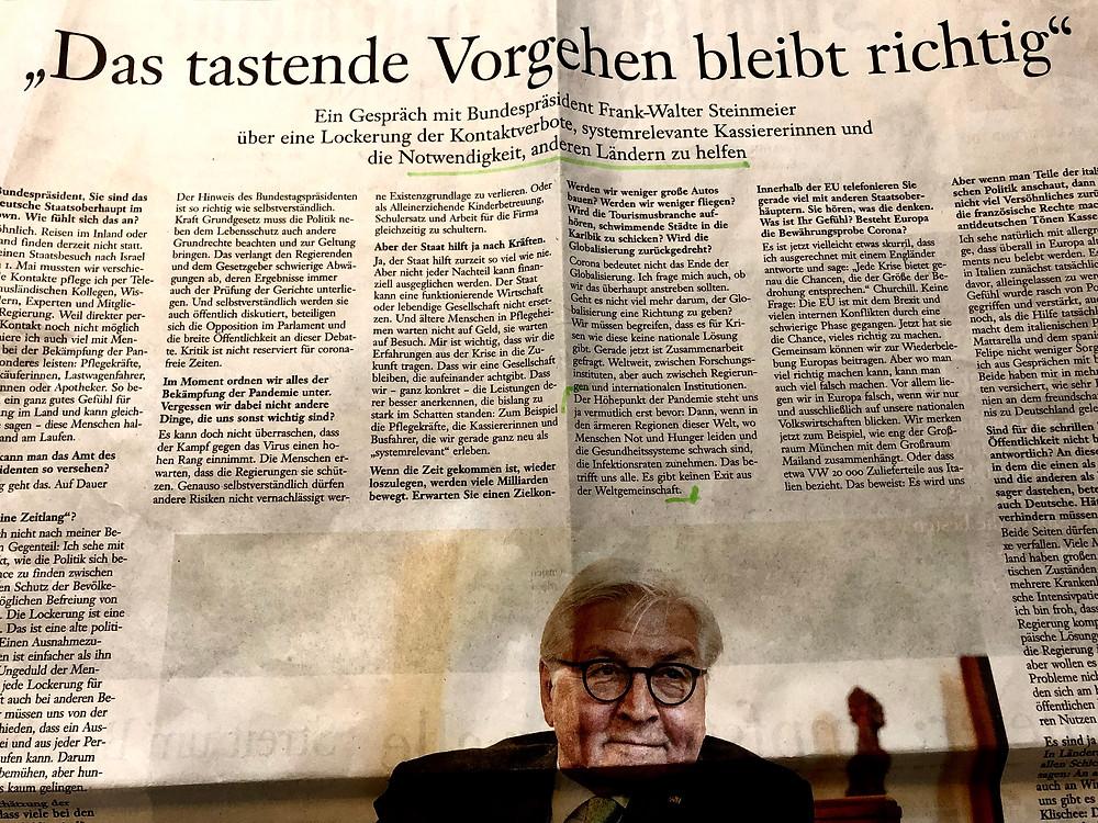 Bundespräsident Steinmeier wirbt in Corona-Krise für Unterstützung ärmerer Länder