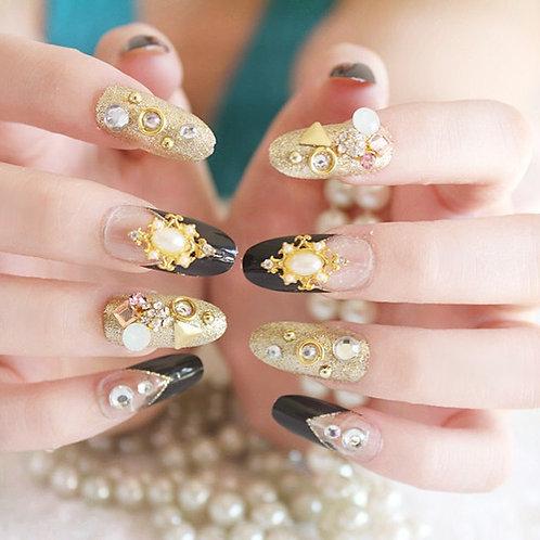 DIY Black Gold Rhinestones 3D False Wedding Nail Tips