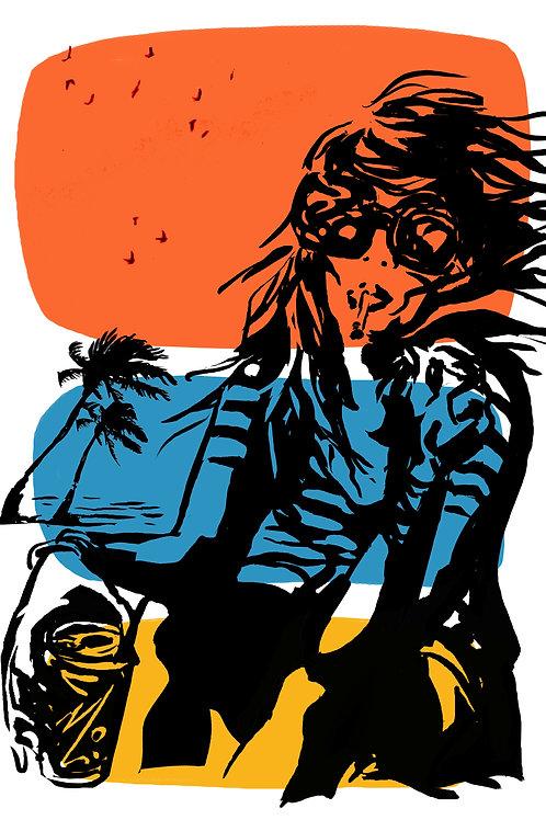'Echo beach' 3 tone print