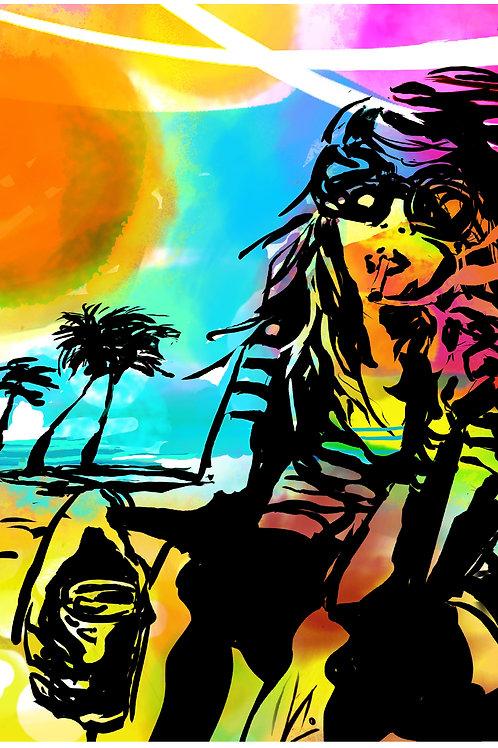 'Echo beach' multicolored print