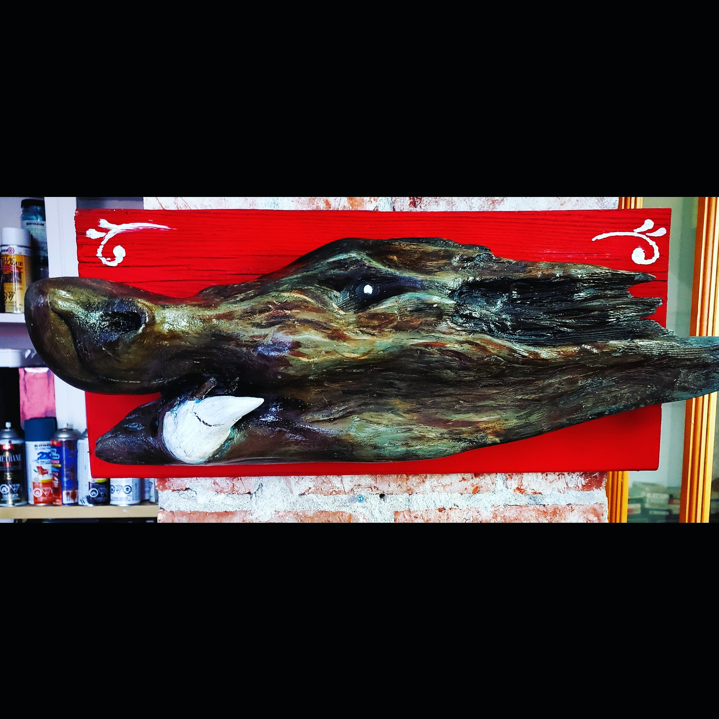 wild pig carving