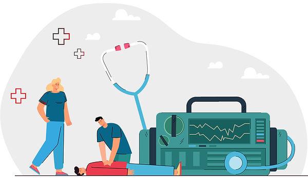Paramedicos dando reanimación