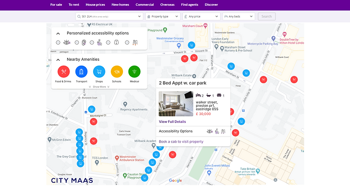Example of Zoopla using the Mobility Map platform