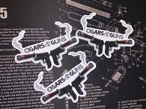 3 Cigars&Guns Vinyl Decals- 3x4 inches