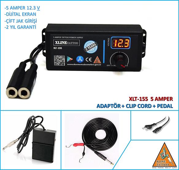 XLP-155 XLINETATTOO 5 AMPER 12.5 VATT TATTOO ADAPTER + CLIP CORD + FOOT SWITCH