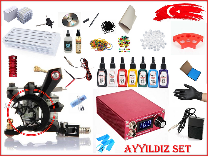 AYYILDIZ MODEL TATTOO DÖVME MAKİNASI FULL SET