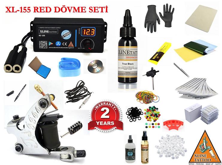 XL-155 RED DİJİTAL ADAPTÖRÜLÜ TATTOO DÖVME MAKİNASI SETİ PROFESYONEL