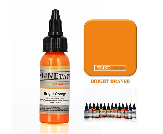 1 Oz Xlinetattoo Bright Orange Dövme Boyası - 30ml Parlak Turuncu Dövme Mürekkeb