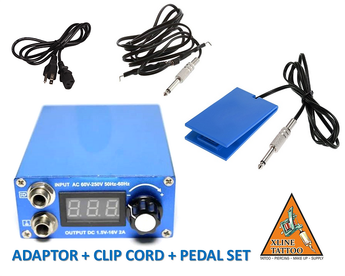 XL-760 TATTOO DÖVME MAKİNESİ ADAPTÖR + CLIP CORD + PEDAL SET - ÇİFT JAKLI - USA