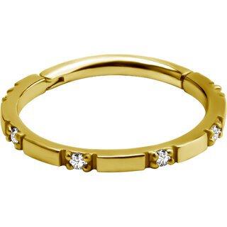 Gold Hinged ConchClicker Swarovski®