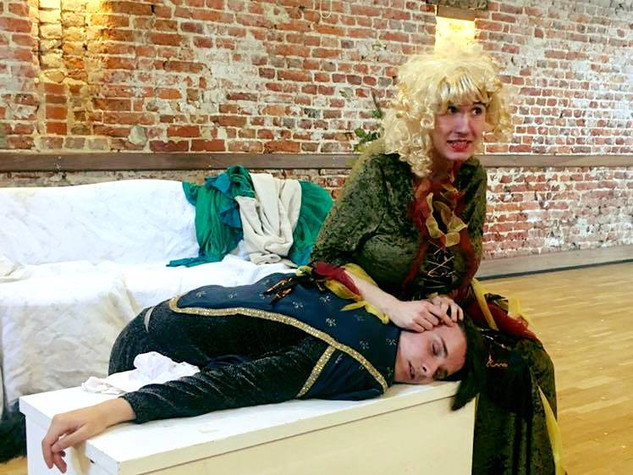 Frances Flute as Thisbe and Nick Bottom as Pyramus