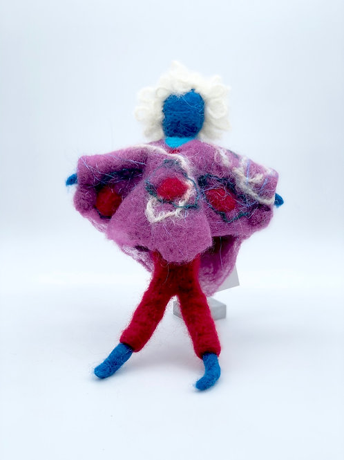 "One of a kind handmade felted doll 10"" (blue)"