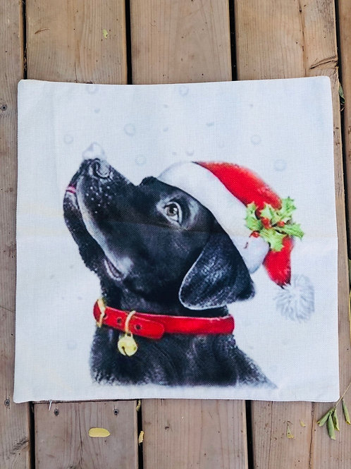 Pillow case with black dog and Santa hat 18x18