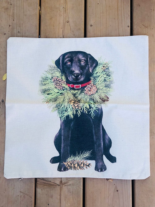 Pillow case wreath and black dog 18x18