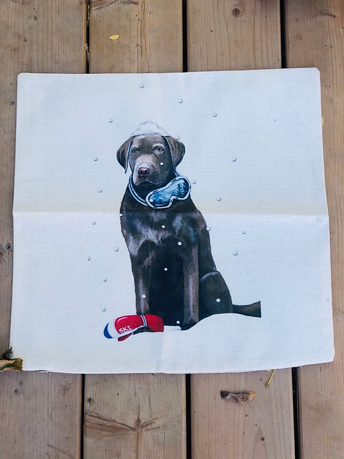Pillow case with Black Dog and goggles 18x18