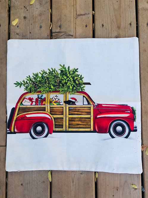 Pillow case red car with tree and dog 18x18