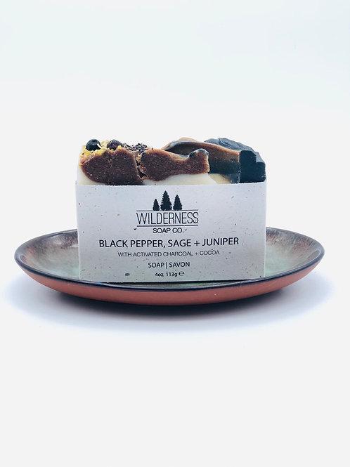 BLACK PEPPER, SAGE + JUNIPER SOAP BAR