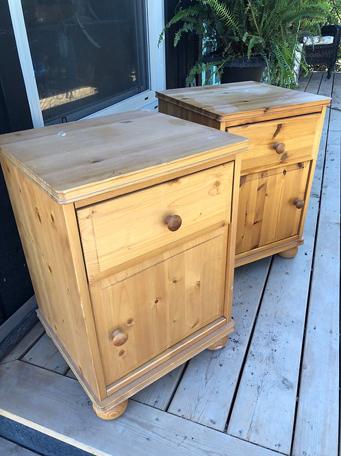 Two matching pine night stands