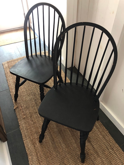 Set of Two solid wood sturdy black chairs (with a few scuffs)