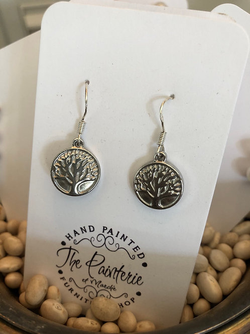 Family tree earrings with sterling silver hooks