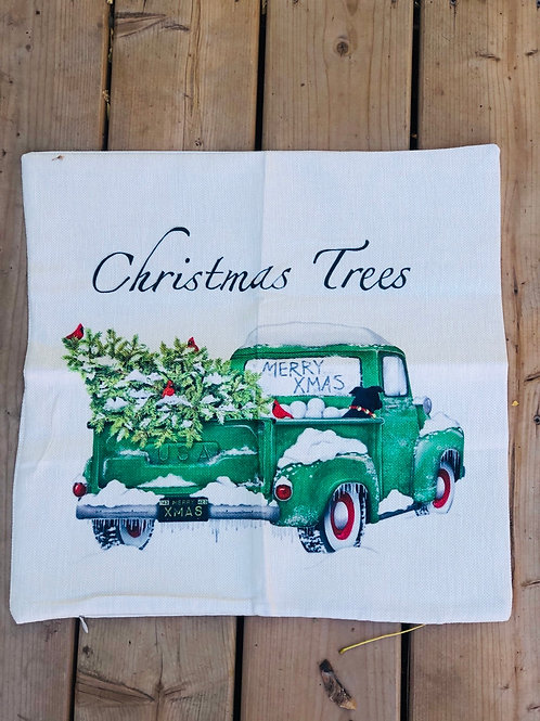 Pillow case green truck with tree and dog 18x18