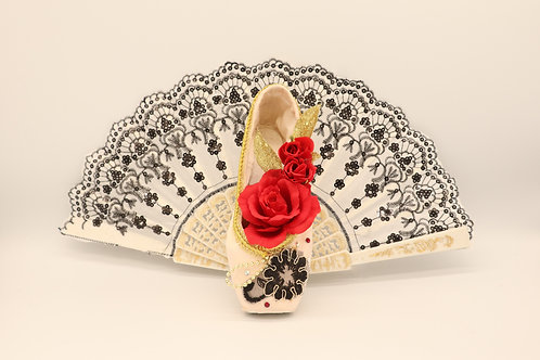 """Customized Ballet Shoe Art """"Don Quixote -White with Red Rose"""""""