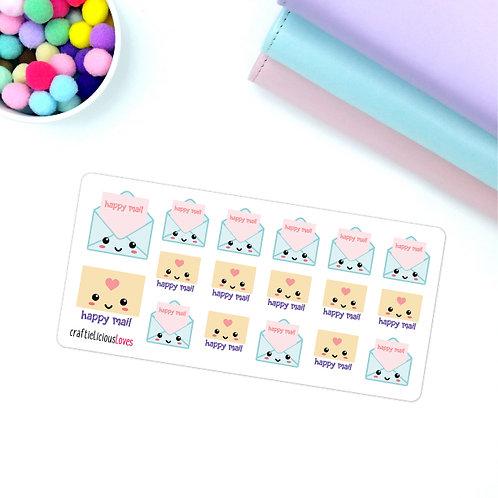Happy mail kawaii stickers