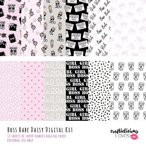 Boss Babe Daisy - Digital Papers