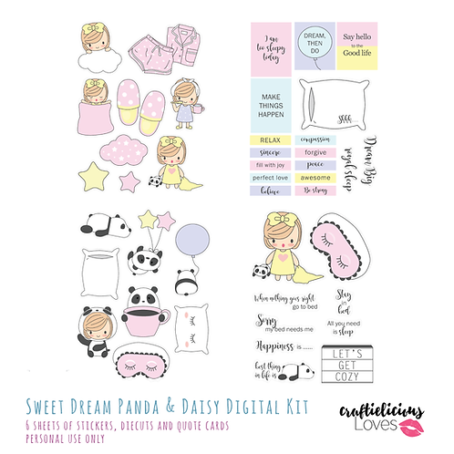 Sweet Dream Panda and Daisy - Die Cuts and Cards