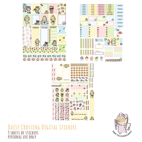 Daisy Crossing Stickers (with Hobonichi Size)