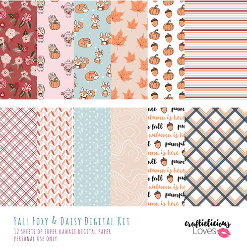 Fall Foxy and Daisy - Digital Papers