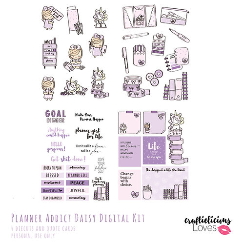 Planner Addict Daisy - Die Cuts and Cards