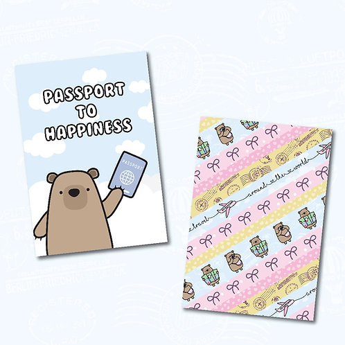 Wanderlust bear postcard - double-sided