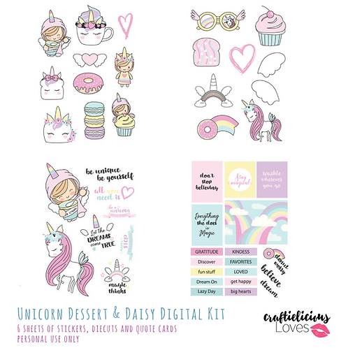 Unicorn Dessert and Daisy - Die Cuts and Cards