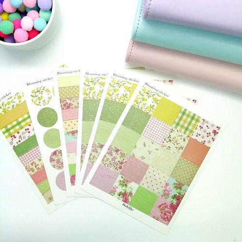 Korea pre-cut sticker set - Blooming flowers