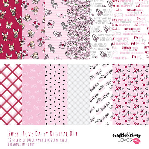 Sweet Love Daisy - Digital Papers