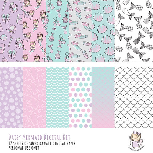 Daisy Mermaid - Digital Papers